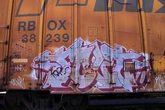 JOLT (KNOWLEDGE IS KING_) Tags: color art car yard train bench one graffiti paint tracks rail railway socal jolt piece burner bomb railfan freight fill in rollingstock ttx rbox railbox benched burntyellowboxcar