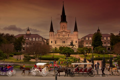 Saint Louis Cathedral (praline3001(say NO 2 Beta)) Tags: landscape photography louisiana catholic neworleans churches frenchquarter jacksonsquare mardigras carriages saintlouiscathedral historiclandmark canonrebelt3i rememberthatmomentlevel1