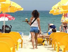 Cool beer and sexy waitress - Sheraton beach in Tel Aviv, Israel (5 pictures) (jackfre2) Tags: sun green beer israel telaviv sand waves beaches waitress umbrellas beachchairs parasols mediteraneansea yellowchairs coolbeer may2011 mygearandme mygearandmepremium ringexcellence flickrstruereflection1