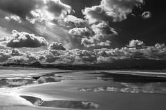 Beach mirroring sky  Alexandra Luberne (Empreintes Naives) Tags: blackandwhite espaa beach spain noiretblanc playa galicia plage pontevedra nigran playaamerica negroyblanco