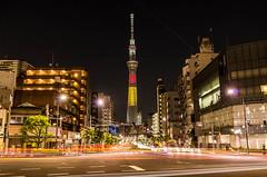 Bonsoir Belgique! (703) Tags: japan night tokyo cityscape nightscape belgium   nightscene nightview asakusa    lightrails skytree komagatabridge tokyoskytree  pentaxk5 da18135mm  150yearsfrindshipbetweenbelgiumandjapan 150