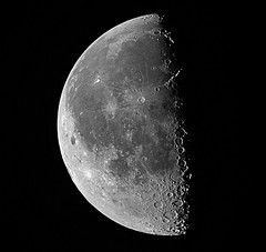 Last Quarter revisited (JustinMullenPhotography) Tags: sky moon white black texture nature beautiful last contrast dark outdoors amazing natural outdoor space hike astro luna minimal explore telescope astrophotography quarter serene outerspace exploration lunar
