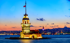 Maiden Tower - Uskudar at Sunset. (Aleem Yousaf) Tags: tower turkey landscape photo nikon walk istanbul maiden bosphorus d800 galata 70200mm kiz kulesi leanders