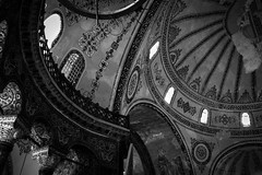 curvature of a mosque. (jrseikaly) Tags: windows light bw white church turkey circle jack photography design back circles interior curves istanbul mosque dome sophia bnw hagia ayasofya seikaly jrseikaly