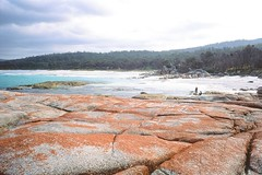 Tasmania: The Bay of Fires 01 (Milo R.) Tags: leica sea beach water analog 35mm paradise fuji australia summicron velvia tasmania redrocks f2 idyll m6 leicam6 bayoffires