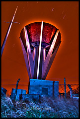 punch bowl (Kriegaffe 9) Tags: blue red sky tower night stars concrete watertower led hdr