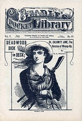 1885 - The Heroine of Whoop Up! (clotho98) Tags: illustration vintage magazine newspaper 1800s victorian ephemera pulp cowgirl 1885 calamityjane whoopup pennydreadful beadles deadwooddick
