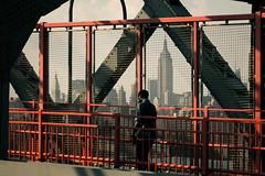 (onesevenone) Tags: city nyc newyorkcity bridge urban ny newyork america photography united north walkway williamsburg empirestatebuilding gothamist states metropolitan williamsburgbridge eastcoast onesevenone