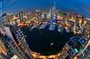 Planet Marina [2] (DanielKHC) Tags: blue water digital marina boats nikon dubai cityscape towers uae vertigo fisheye dri blending d300 danielcheong nikkorfisheye105mmf28 danielkhc