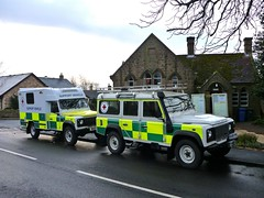 Meeting at the church hall (barronr) Tags: england training scotland driving offroad volunteers 110 ambulance landrover 130 defender britishredcross crookham northunbria