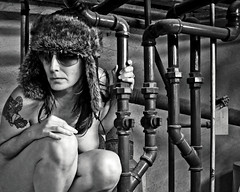 The Intrepid Explorer (sadandbeautiful (Sarah)) Tags: portrait bw woman selfportrait me hat sunglasses female self pipes basement travelinhat