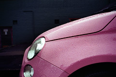 pink raindrops (pho-Tony) Tags: pink color wet car rain barn 35mm iso200 drops doors fiat kodak drop negative raindrops plus 500 1980 f28 zone compact chinon bellami chinonbellami barndoor 128 c41 barndoors colorplus tetenal chinonex