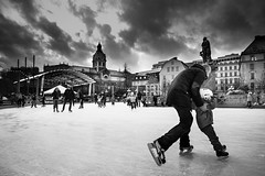 Slippery When Wet.. (Peter Levi) Tags: street city people blackandwhite bw blancoynegro ice water frozen sweden stockholm iceskating skating blackwhitephotos bestcapturesaoi elitegalleryaoi