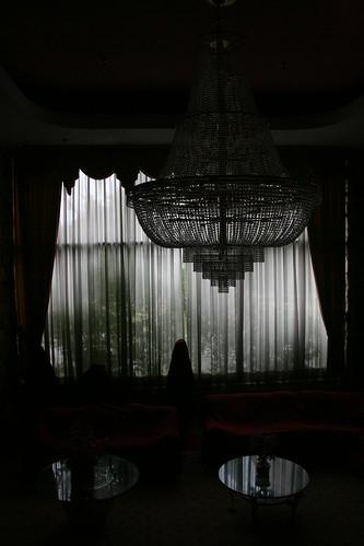 Shadowy chandelier in main lobby