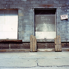 Go Steelers (michaelgoodin) Tags: door 120 6x6 tlr film mediumformat december pittsburgh kodak pennsylvania south side warehouse chemistry block 100 skids cinder gosteelers yashicamat ektar c41 2011 unicolor newtopographics jemappellemonique mynameismonica myfrenchisrusty