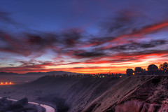 Sunrise - [Explored] (M.Varga) Tags: california red sky orange sun colors fog sunrise lights canal flickr nightlights kern explore bluffs slope bakersfield varga morningfog kerncounty flickrexplore explored flickexplore mvarga martinvarga
