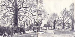 Nuneham Courtenay (Martin Beek) Tags: winter panorama art landscape sketch artwork pages drawing sketchbook study wash watercolour 2012 nunehamcourtenay britishlandscape britishlandscapes january2012