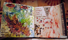 Art Journal Pages 1.7.12 (Jenndalyn) Tags: art collage costume mixed eyes media paint journal jewelry sketchbook messy henna splatters