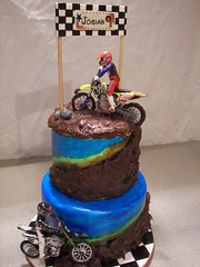 Josiah's Birthday Cake (Sweet and Swanky Cakes) Tags: cake handpainted dirtbike checkers fondant gumpaste