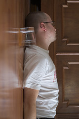 Standing there (5) (Joeri van Veen) Tags: wood portrait white male floor tshirt whisky lying standingthere