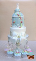 Bird Cage Wedding Cake (www.jellycake.co.uk) Tags: pink blue wedding roses bird cake duck egg cage wiltshire jellycake wwwjellycakecouk