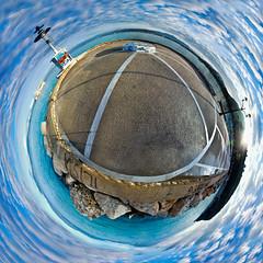 Little planet Lighthouse, Nafplion, Greece (amfipolos) Tags: lighthouse photoshop 360 greece sonycybershot polarcoordinates ελλάδα θάλασσα littleplanet polarpanorama stereographicprojection nafpion ναύπλιο ουρανόσ φάροσ
