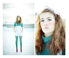 . (Sarah Joann) Tags: pink winter white snow cold me girl hair myself parkinggarage teal bow statement overalls stare heels 365 crazyhair headband