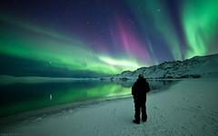 Me and Aurora borealis - Iceland - Kleifarvatn (Arnar Bergur) Tags: lake snow man reflection water night standing canon stars landscape lights frozen iceland crazy watching aurora northern arnar sland borealis mark2 kleifarvatn 14mm rokinon