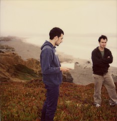 Matt and Bento Dillon Beach Cliff (jordangordon) Tags: ocean california ca portrait cliff 6x6 film beach northerncalifornia cali analog square polaroid reading book coast mood pacific foggy atmosphere adventure pacificocean coastal journey iceplant 600 bayarea analogue wilderness moment polaroid600 atmospheric dillonbeach tamalesbay 2guys