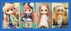 Neo Blythe Comparison: Rachel's Ribbon (RaRi/first), Heart of Montmartre (HoM/second), Vinter Arden (VA/third) and Mademoiselle Rosebud (MRB/last) (electrikbarbarella) Tags: va comparison sbl fbl mrb rari hom rbl mademoisellerosebud neoblythe heartofmontmartre vinterarden rachelsribbon