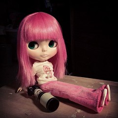 29/366. One of my Blythe girls taking a break from a photo shoot.