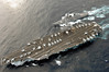 PHILIPPINE SEA (March 17, 2007) - USS Ronald Reagan (CVN 76) connects to Japan Maritime Self Defense Force (JMSDF) guided missile destroyer JS Myoko (DDG 175) during a fueling at sea (FAS) evolution.