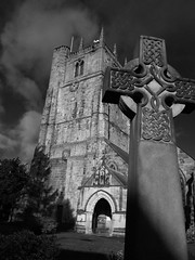 Cross (Steve J O'Brien) Tags: england blackandwhite bw tower church nikon shropshire cross stoswalds oswestry nikons8000 januaryfriday