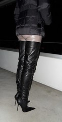 Rosina on the balcony (Rosina's Heels) Tags: leather high boots thigh heel stiletto overknee