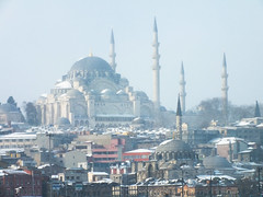 Istanbul in Winter (CyberMacs) Tags: winter sea snow nature weather turkey season other minaret muslim islam religion places istanbul mosque ottoman cami deniz istambul islamic ottomanarchitecture constantinople camii eminn suleiman sleymaniyecamii suleimanthemagnificent sleymaniyemosque architecturalstyle sultansuleimani othernames