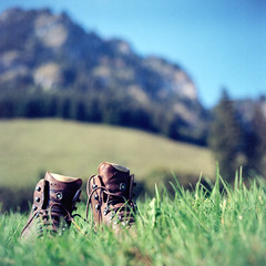 Hiking Break (christian.senger) Tags: blue sky mountain green 6x6 film nature grass leather rollei analog rolleiflex mediumformat germany geotagged shoes europe kodak outdoor hiking hill squareformat sl66 lightroom ektar carlzeiss silverfast hindelang photostudio13 christiansenger:year=2012