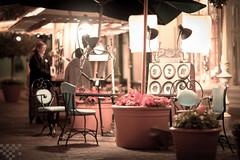 Done for the Night (tltichy) Tags: silhouette night canon mainstreet artist december chairs florida empty disney fl wdw waltdisneyworld umbrellas magickingdom f12 2011 85mmf12lii 5dmarkii 5d2 sihllo