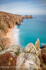 Logan's Rock ([[BIOSPHERE]]) Tags: uk sunset sea beach landscape coast cornwall cornish porthcurno treen logansrock sescape