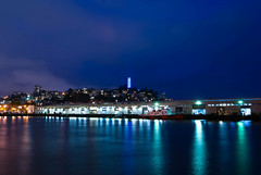 Coit Tower, San Francisco (mapper-montag) Tags: sanfrancisco longexposure reflection water night pier coittower nigh