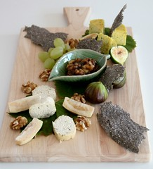Cheese Plate 2 (Couscous & Consciousness) Tags: vegan walnuts grapes vegetarian figs rawfood feijoa cheeseboard nutcheese feijoachutney chiacrackers