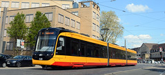 KVV- 328- Karlsruhe HBF (lhb-777) Tags: new station yellow germany track transport tram rails karlsruhe bahn geel buiten spoor duitsland kvv nieuw citylink gleis schienen vervoer citytram vossloh strasenbahn stadstram pvb2016
