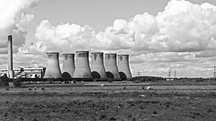 Eggborough Power Station, North Yorkshire. (ManOfYorkshire) Tags: eggborough power station north yorkshire coalfired biomass energy production electricity cooling towers blackwhte monochrome sky clouds shadows bridge camera sony highcontrast pylons transmission