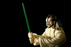 """""""Remember, concentrate on the moment. Feel, don't think. Trust your instincts.""""Qui-Gon Jinn (mru24) Tags: light canon piggy photography starwars flash bank figure jinn speedlite quigon 40d"""