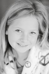 my sister (Helga Kristin photography) Tags: blackandwhite bw white black girl nikon peace bathrobe 9yearsold 2011 9yo nikond7000