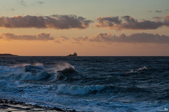 Rough Seas during Sunset (BraCom (Bram)) Tags: sunset storm clouds zonsondergang surf waves ship nederland noordzee wolken zeeland northsea branding hightide schip golven brouwersdam hoogwater ellemeet bracom