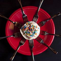 cupcake-008 (swardraws) Tags: red dessert fork cupcake sprinkles forks fiestaware