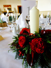 Candle Ring Table Centrepiece (Vicky Spence) Tags: winter wedding red flower rose berries grandprix bouquet skimmia baccara kirkleyhall