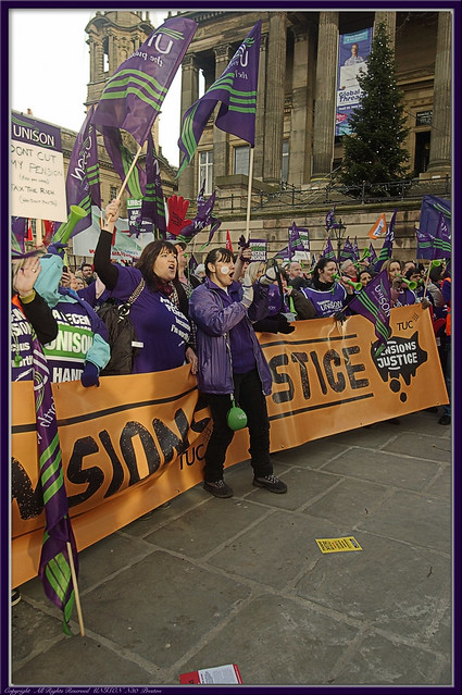 Preston #strike #n30 : UNISON Union : Pensions Protest Rally : Flag Market :