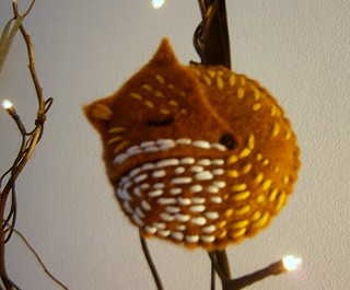 red fox felt ornament