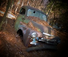 No pickup today (Dave* Seven One) Tags: rot art abandoned broken nature truck ga georgia dead woods junk rust decay rusty pickup dent forgotten dodge junkyard dents oldcarcity classicvintage